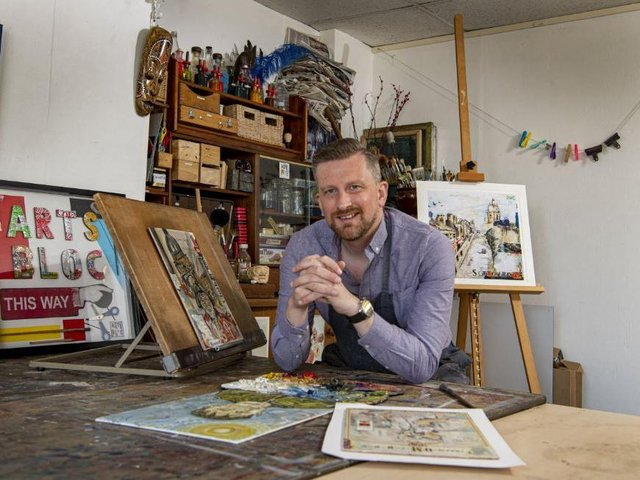 Darran Gray surrounded by his Arthur Seabrigg works at Arts Bloc in Morley. Picture: Tony Johnson.