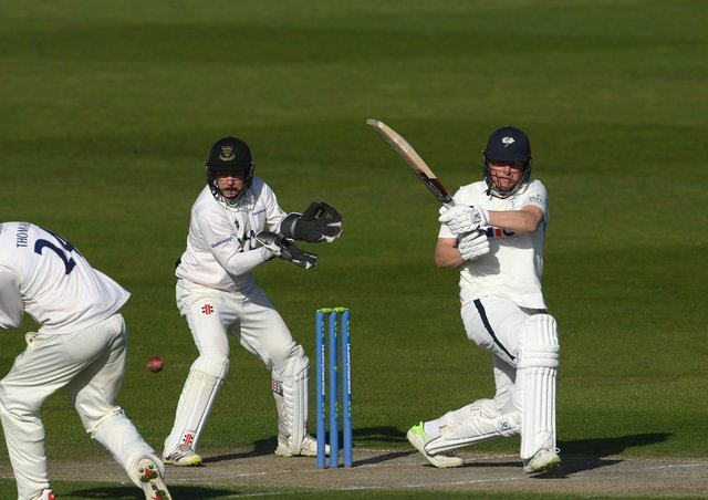 LEADING MAN: Yorkshire's Gary Ballance pulls a boundary as Sussex's Aaron Thomason takes evasive action on day two of the COunty Championship clash at Hove. Picture: Mike Hewitt/Getty Images