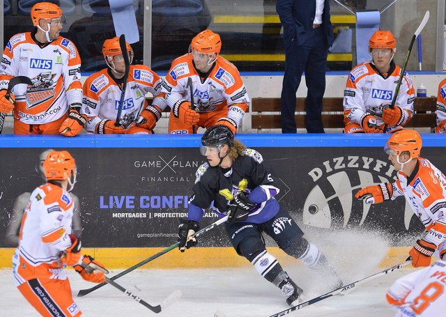 Action from Sheffield Steelers v Manchester Storm on Sunday. Picture: Dean Woolley.