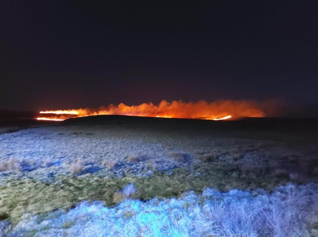 Image tweeted out by West Yorkshire Fire and Rescue Service of the blaze at Marsden Moor