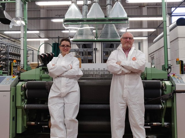 WEAVING SHAPES: Daniela Petre, composite engineer, with Martin Wood, weaving director at Antich, which is based in Huddersfield.