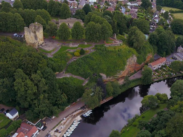 Knaresborough Castle and the River Nidd from above.