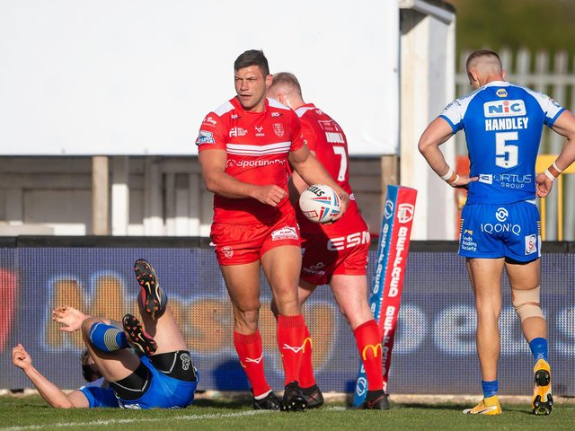 Hull KR's Ryan Hall after scoring his 200th Super League try against former club Leeds Rhinos. (ALLAN MCKENZIE/SWPIX)