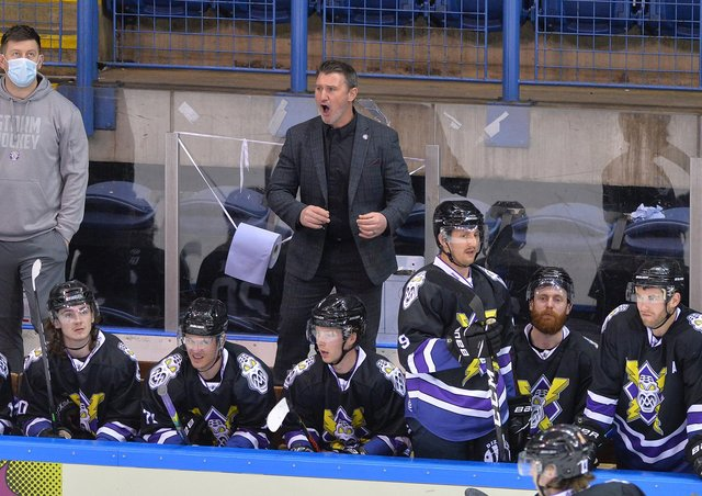 RING IT ON: Manchester Storm head coach Ryan Finnerty hopes to negotiate a way past Sheffield Steelers over the next three days to reach the Elite Series Final. Picture: Dean Woolley.
