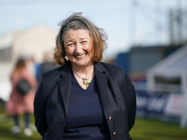 Jill Mortimer, Conservative party candidate for Hartlepool visits Hartlepool United Football Club , in Hartlepool, ahead of the May 6 by-election. Picture date: Friday April 23, 2021. Photo credit should read: Ian Forsyth/PA Wire