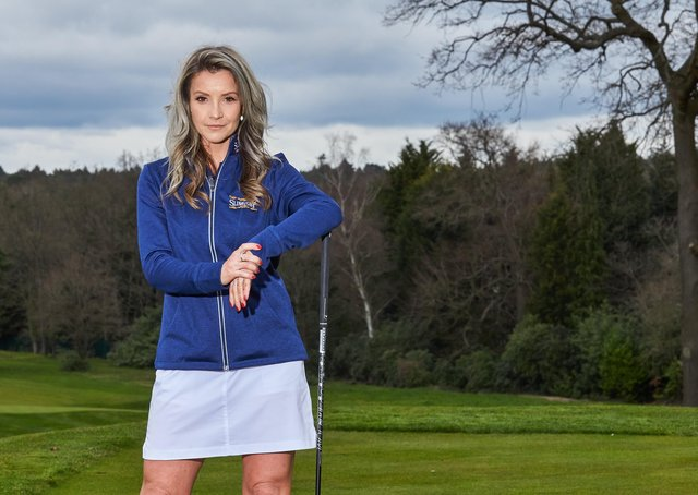 Learning the ropes: The TV presenter Helen Skelton is being taught golf by coach Steph Davis on a weekly basis at Rudding Park Golf Club in Harrogate.