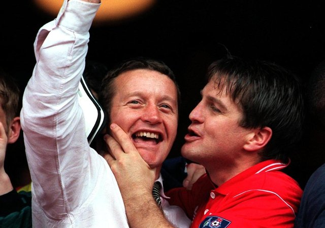 On the up: John Hendrie  threatens to plant a kiss on the cheek of manager Danny Wilson.