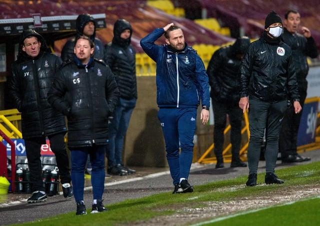 Frustrated: Mark Trueman at Bradford City v Salford City.  Picture: Bruce Rollinson