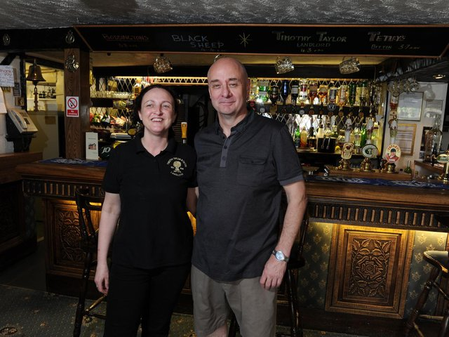 John Baker and his partner Nicola Dewsbury pictured inside The Masons Arms in 2012