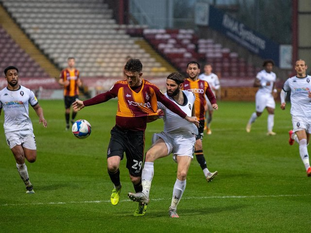 Bradford City striker Andy Cook, pictured in action against Salford City. Picture: Bruce Rollinson.