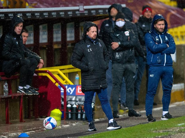 Bradford City managerial duo Mark Trueman (right) and Conor Sellars (left) pictured on the touchline during Tuesday's game with Salford City. Picture: Bruce Rollinson.