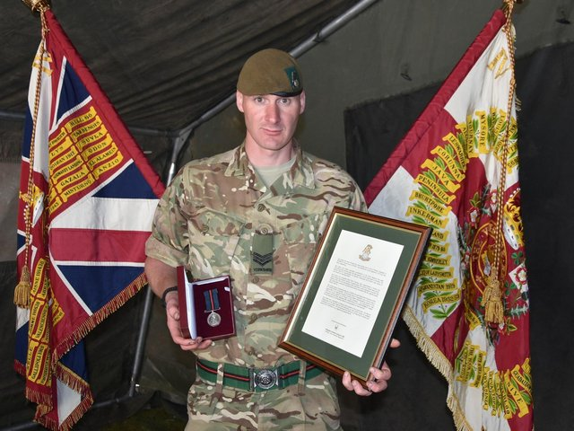 Sergeant Chris Clarke, of the 4th Battalion, The Yorkshire Regiment, was awarded the honour for his contribution to the regiment throughout 2019 and 2020.