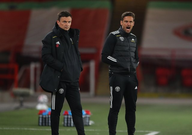 Paul Heckingbottom, interim manager of Sheffield Utd, and Jason Tindall, assistant coach. Picture: Simon Bellis / Sportimage