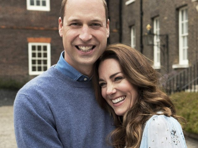 A new portrait of The Duke and Duchess of Cambridge taken at Kensington Palace this week to mark their 10th wedding anniversary. Photo by CHRIS FLOYD/CAMERA PRESS.
