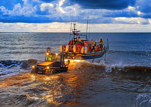 Filey's Mersey class all-weather lifeboat takes to the sea for the final time before being retired from service. Photo: Tony Johnson.