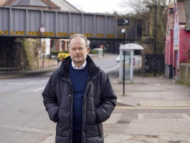 Paul Blomfield MP at the railway at Heeley. Photo:Scott Merrylees