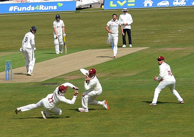 NARROW ESCAPE: A chance goes begging in the Northants slip cordon at Headingley on day one. Picture: Dave Williams.