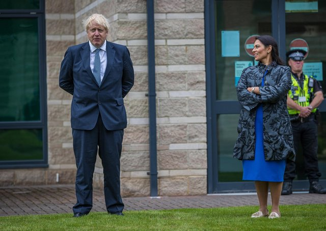 Boris Johnson and Priti Patel during a visit to North Yorkshire Police last summer. Photo: ©2020 CAG Photography Ltd.