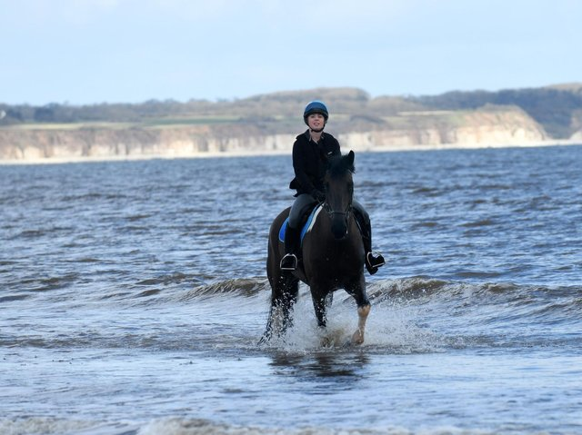 The Milners' daughter Lauren riding Whisky on the beach at Fraisthorpe