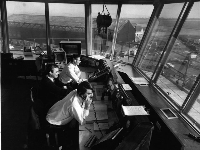The control tower at Leeds Bradford Airport in 1968.
