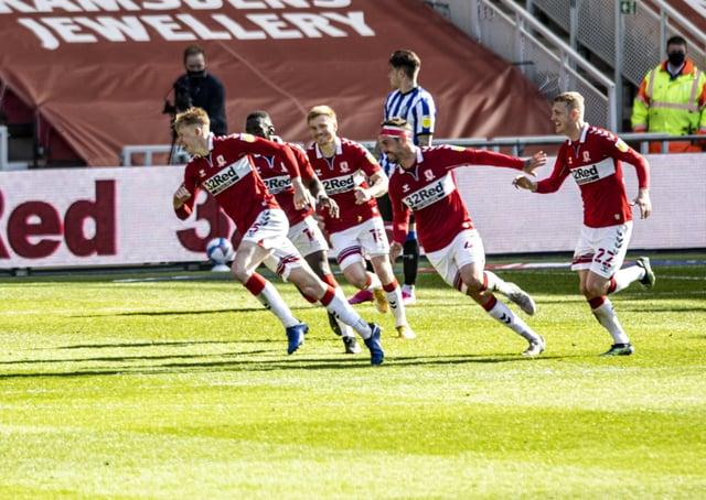 Gloss finish: Boro's Josh Coburn celebrates scoring the second goal against Sheffield Wednesday.  Picture: Tony Johnson