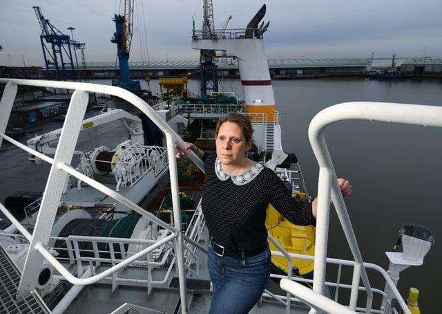 UK Fisheries chief executive Jane Sandell on the Kirkella.