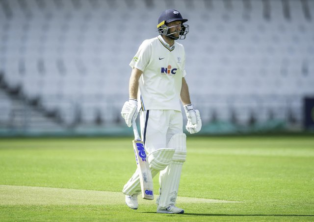 Yorkshire's Adam Lyth is dismissed first ball of the innings against Northamptonshire. Pictures: Allan McKenzie/SWpix.com