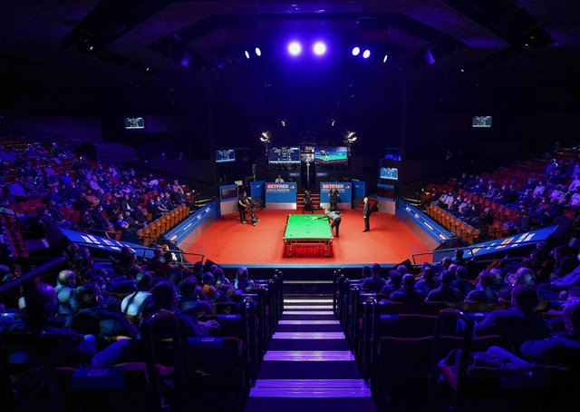 A general view of the semi-final match between England's Kyren Wilson and England's Shaun Murphy during day 14 of the Betfred World Snooker Championships 2021 at The Crucible (Picture: Zac Goodwin/PA Wire)