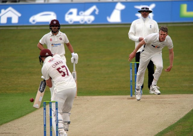 GOT HIM: Steve Patterson, right, entices the edge from Tom Curran to be caught by Harry Brook (not seen) at third slip. Picture: Dave Williams.