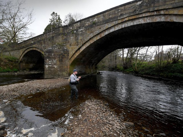 Oscar Boatfield pictured fly-fishing on the River Nidd, Pateley Bridge