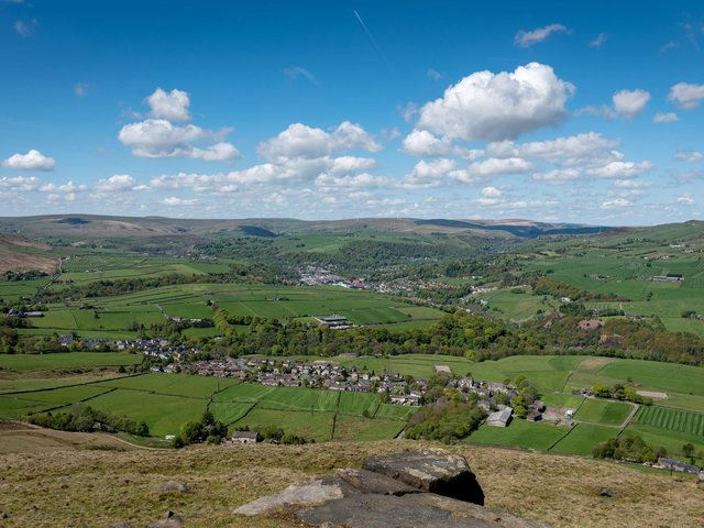 The view across towards Todmorden, Calderdale from Stoodley Pike. Picture Ian Day.