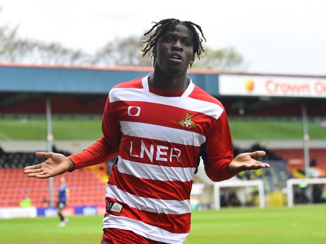 Tayylor Richards celebrates after firing Doncaster Roves into a two-goal lead at Rochdale. Picture: Getty Images