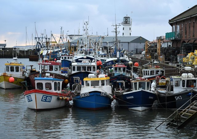 Fishing boats moored at Scarborough as they continue to count the cost of Brexit.