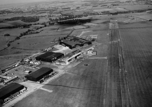 An aerial photo of Yeadon Airport in June 1957.