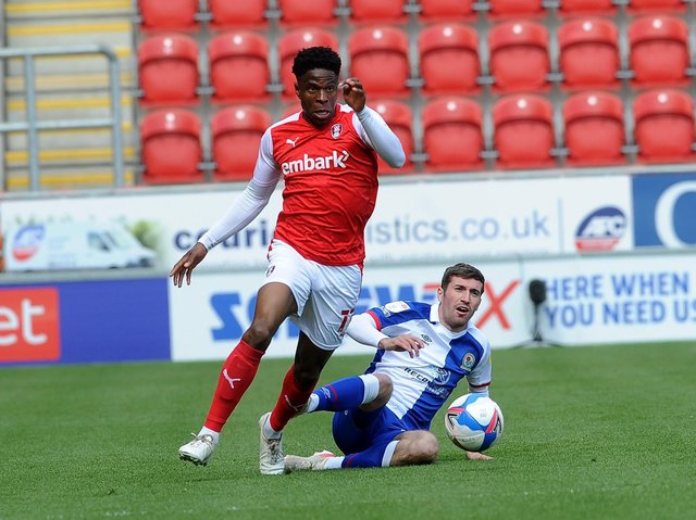 Rotherham United winger Chiedozie Ogbene gets away from Blackburn's Joe Rothwell at the AESSEAL New York Stadium. Picture: Simon Hulme.
