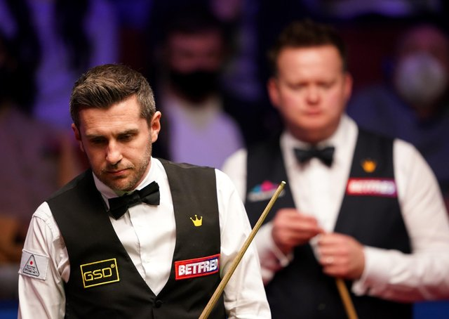 HARD SLOG: Mark Selby considers nis next shot at The Crucible, Sheffield. Picture: Zac Goodwin/PA