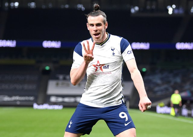 Three-sy: Tottenham Hotspur's Gareth Bale celebrates scoring their side's third goal of the game and his hat-trick against Sheffield United. Picture:  Shaun Botterill/PA Wire.