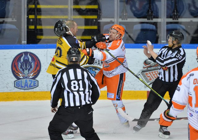 TOUGH NIGHT: Brendan Connolly's frustration boils over as he grapples with Panthers' defenceman, Mark Matheson. Picture: Dean Woolley.