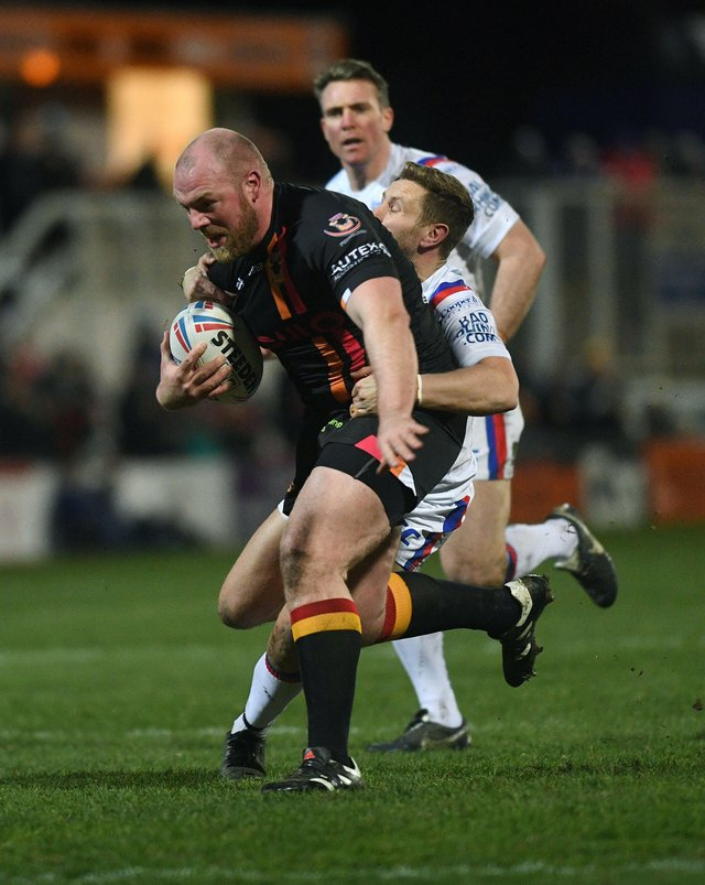 Double: Veteran Bradford Bulls prop Steve Crossley scored two tries in their win at Whitehaven. Picture: Jonathan Gawthorpe.