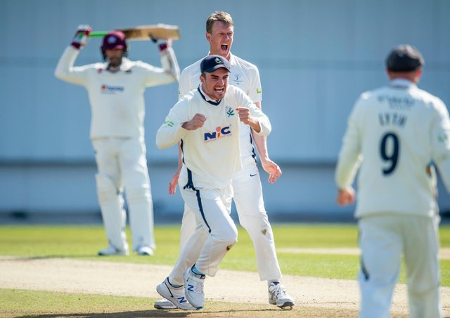 GOT HIM: Yorkshire's Jordan Thompson & Steven Patterson celebrate after claiming a thrilling one-run victory over Northamptonshire. Picture by Allan McKenzie/SWpix.com