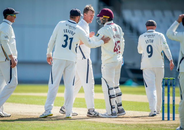 Yorkshire's Steven Patterson celebrates victory by one run over Northamptonshire. Picture by Allan McKenzie/SWpix.com