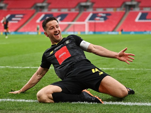 Jos Falkingham celebrates after firing Harrogate Town into lead against Concord Rangers in the final of the 2019/20 FA Trophy. Picture: Getty Images