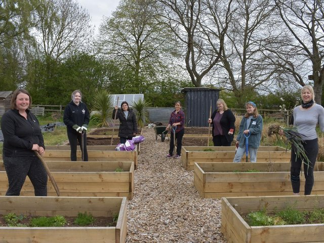 Members of the project preparing the allotment for use.