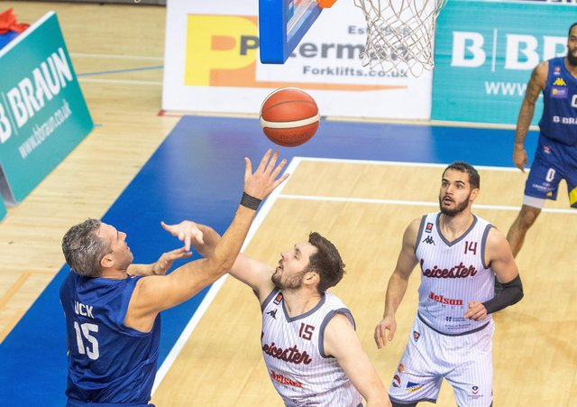 Mike Tuck gets a shot in for Sheffield Sharksagainst Leicester Riders back in February (Picture: Bruce Rollinson)