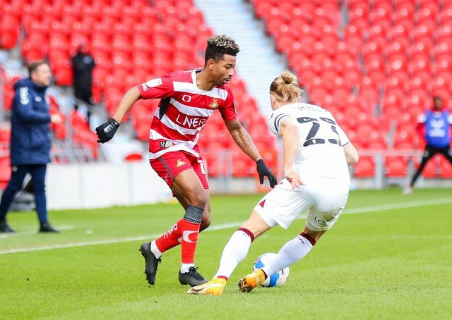 Out of contract:  Jason Lokilo has found form at the right time but with his contract due to expire after the two games this week, will he be back for Doncaster Rovers next season? (Picture: Isaac Parkin/PA)