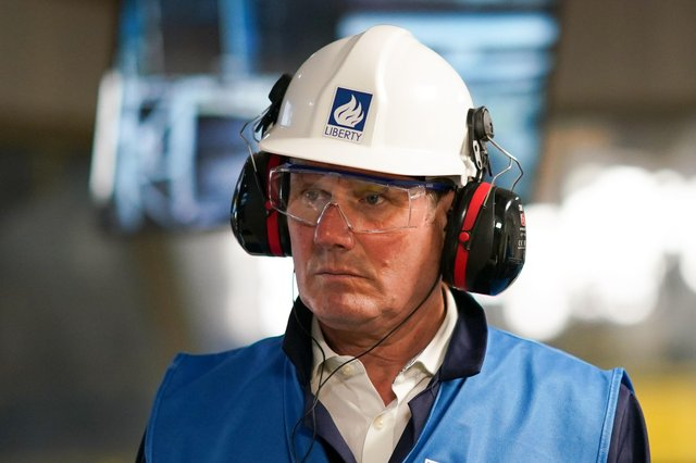 Labour leader Sir keir Starmer during a visit to the Liberty Steel plant as part of the Hartlepool by-election campaign.