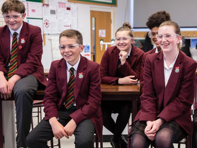 Senior School students enjoying a science class at Harrogate's Ashville College