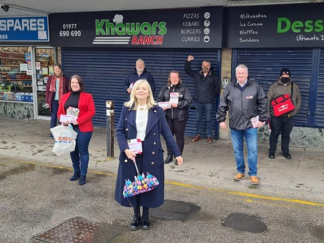 Labour's candidate for West Yorkshire mayor Tracy Brabin pictured with activists. Photo: Labour Party