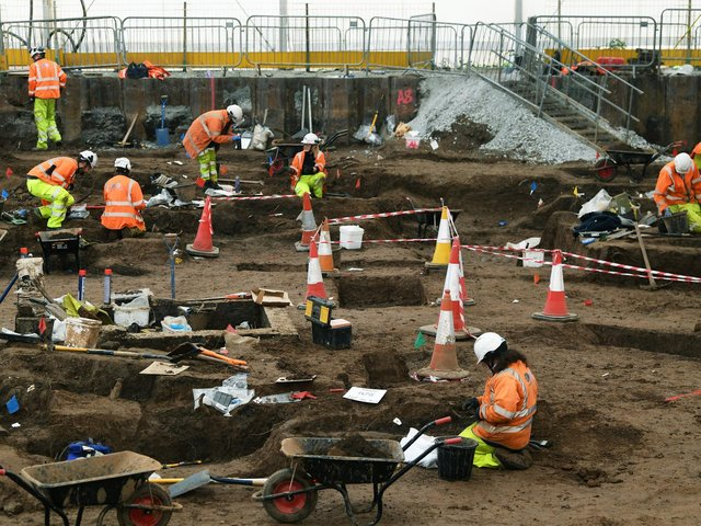 A team of 70 archaeologists is working on the site off the Mytongate roundabout in Hull Picture: Jonathan Gawthorpe