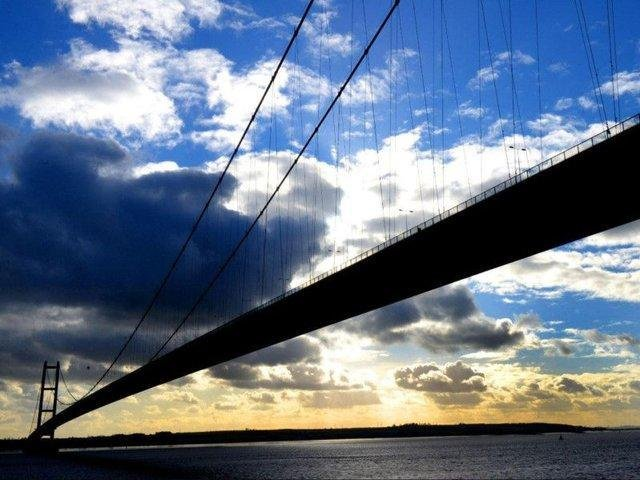 A view of the Humber Bridge from the North Bank looking towards Barton upon Humber.